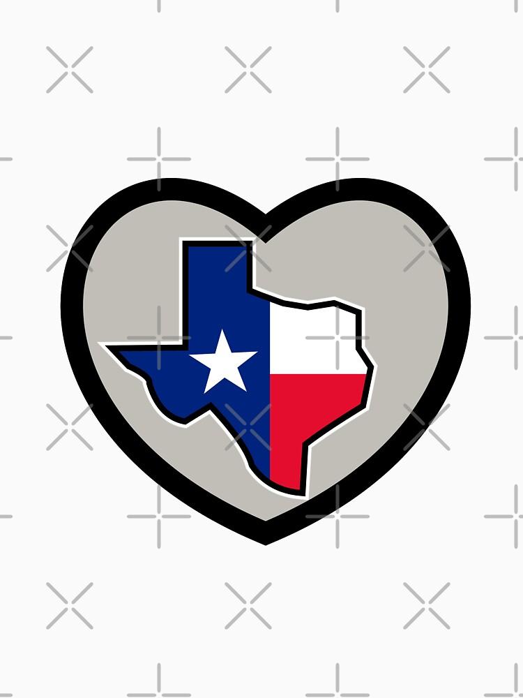 Texas Flag Map Inside Heart Icon by patrimonio