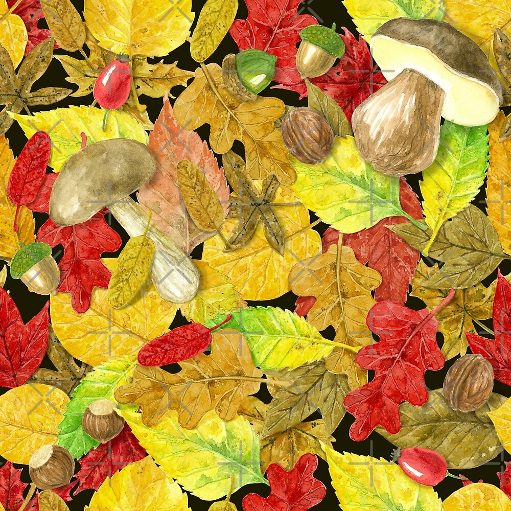 Watercolor autumn pattern by Katerina Kirilova