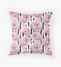 Vector Pink Peonies Throw Pillow