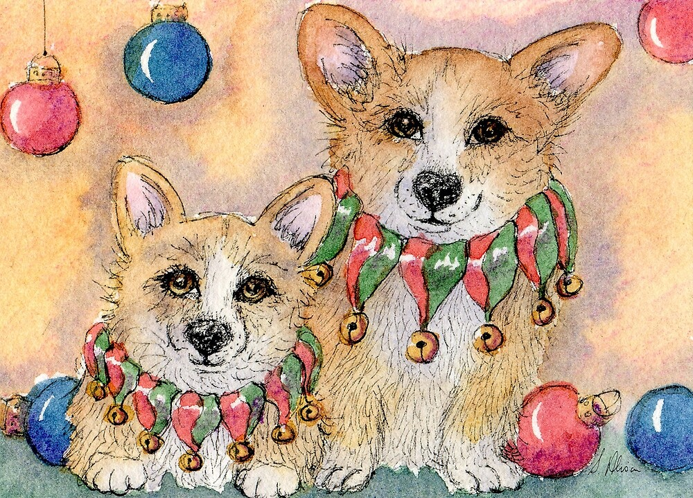 Wearing their jingle collars, border collie dogs christmas by SusanAlisonArt