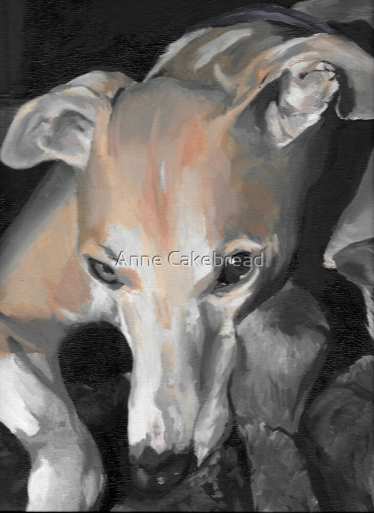 Fawn whippet portrait - oil painting by Anne Cakebread