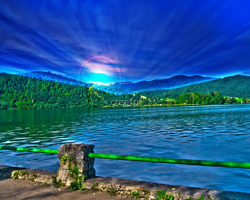 Sun over Lake Schliersee bavaria Germany by creefot