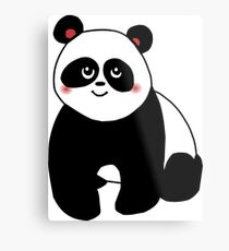 Cute kawaii panda vector Metal Print