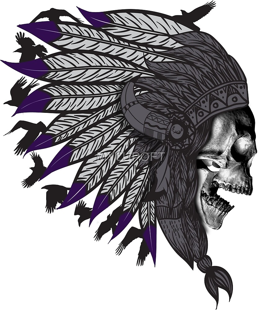 Scary Native American Headdress Skull Indian Chief Halloween T-shirt  by MYCUPOFT