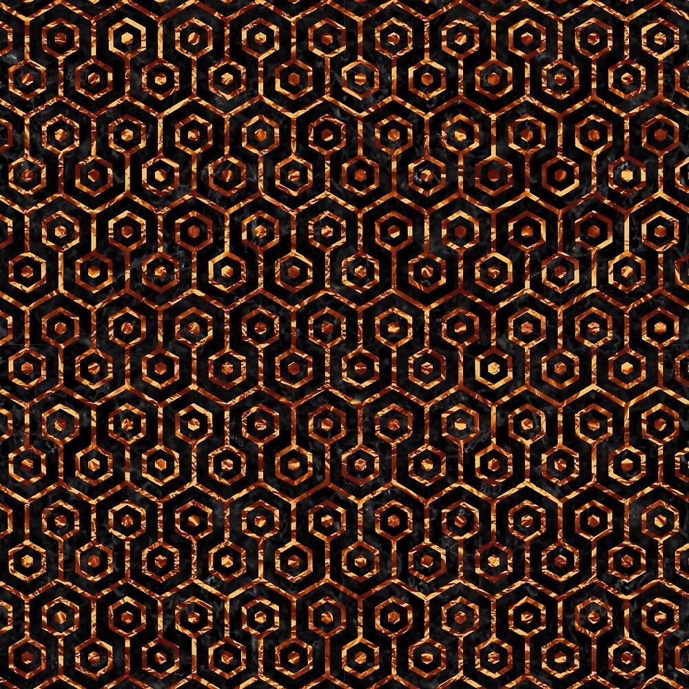 HEXAGON1 BLACK MARBLE & COPPER FOIL by johnhunternance