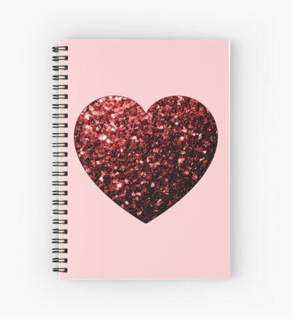Red Glitter sparkles Heart on light pink Spiral Notebook