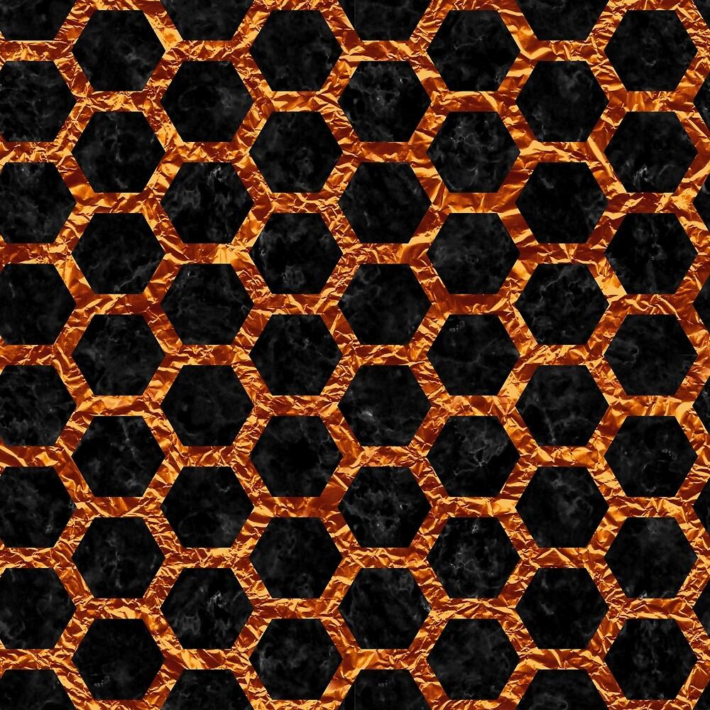 HEXAGON2 BLACK MARBLE & COPPER FOIL by johnhunternance