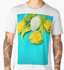 Spring Yellow Tulips and Easter Egg Men's Premium T-Shirt