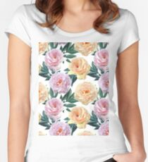 Peonies Pattern Women's Fitted Scoop T-Shirt