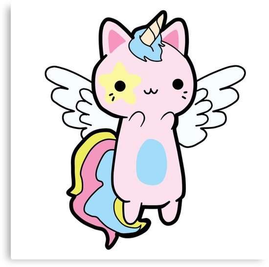 u0026quot kawaii cat unicorn fly u0026quot  canvas prints by monicanilore