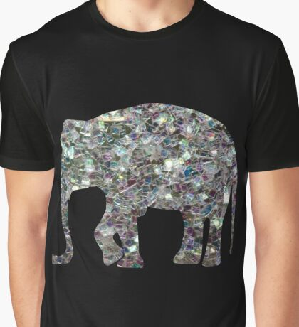 Sparkly colourful silver mosaic Elephant Graphic T-Shirt
