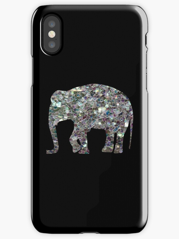 Sparkly colourful silver mosaic Elephant by PLdesign