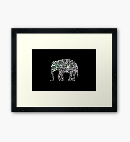 Sparkly colourful silver mosaic Elephant Framed Print