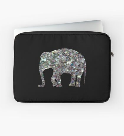 Sparkly colourful silver mosaic Elephant Laptop Sleeve