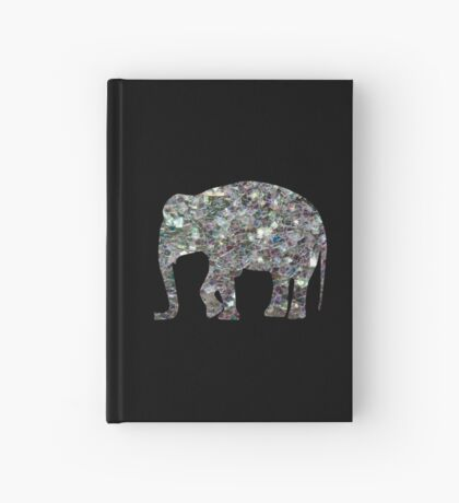 Sparkly colourful silver mosaic Elephant Hardcover Journal