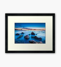 Wet rocks at dawn long exposure Framed Print