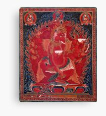 Dancing Red Ganapati Of The 3 Red Deities Canvas Print