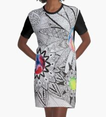 Cosmic Floral Graphic T-Shirt Dress