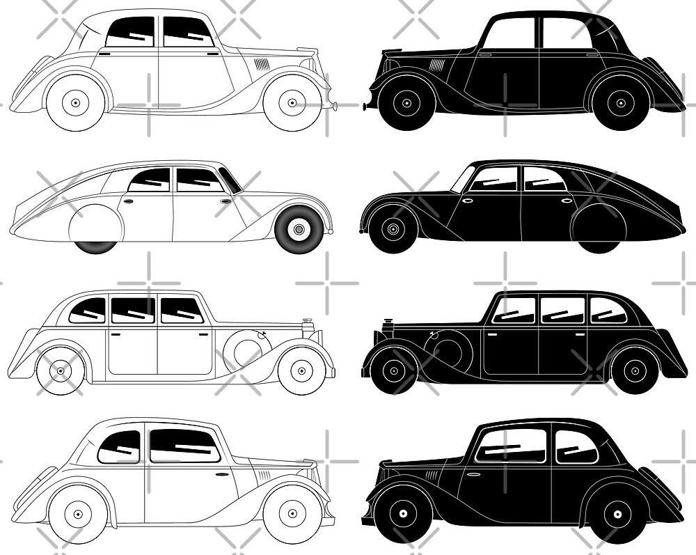 Set of vintage cars by siloto