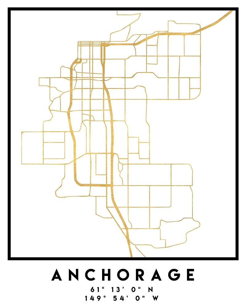 ANCHORAGE ALASKA CITY STREET MAP ART by deificusArt