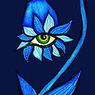 Blue Staring Creepy Eye Flower by Boriana Giormova
