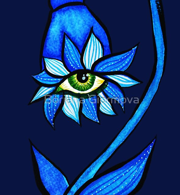 Blue Staring Creepy Eye Flower by Boriana Giormova