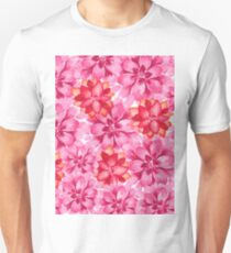 Neon pink red orange hand painted watercolor floral T-Shirt