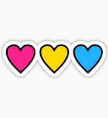 pansexual pride hearts Sticker