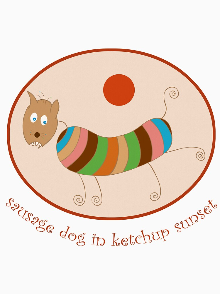 Sausage Dog In Ketchup Sunset by illustrateme