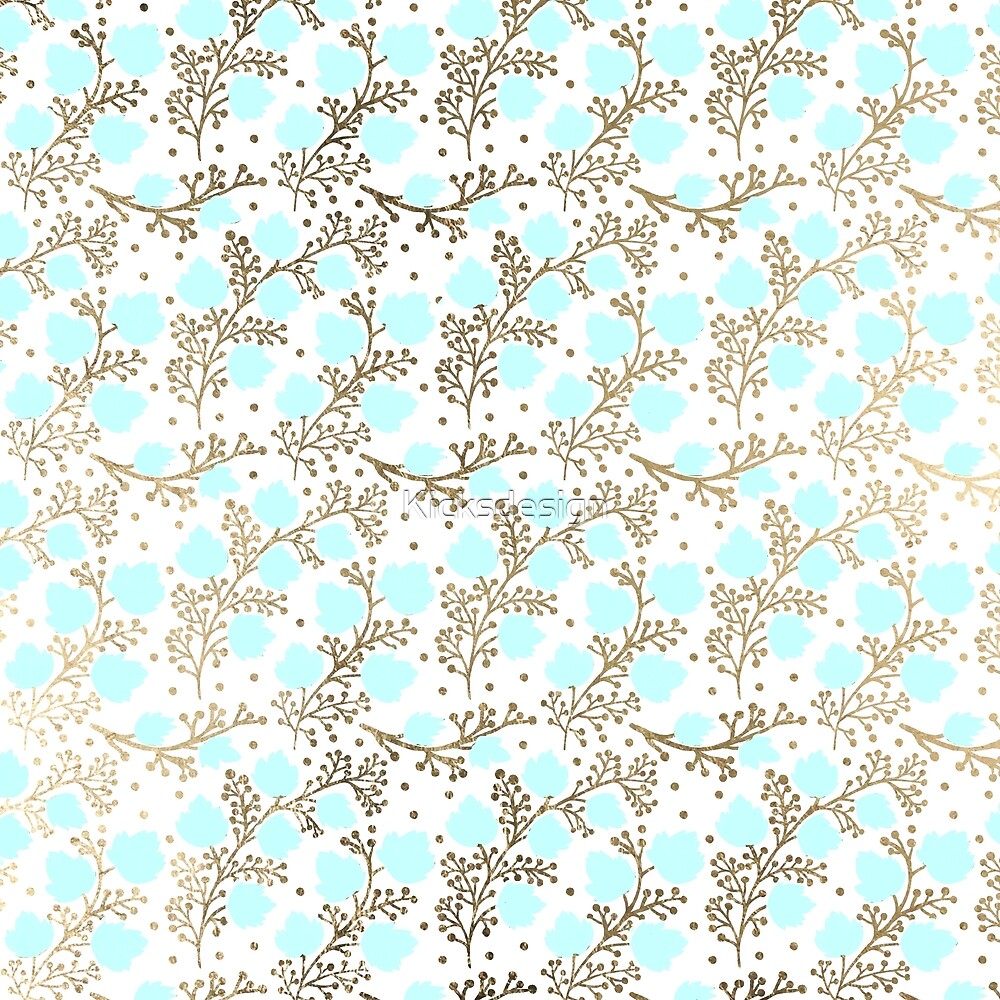 Modern faux gold teal white hand painted floral by Maria Fernandes