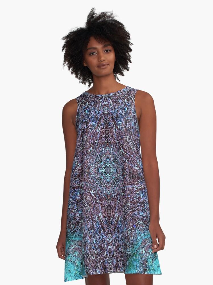 Purple Blue Crystal Cross Pattern A-Line Dress Front