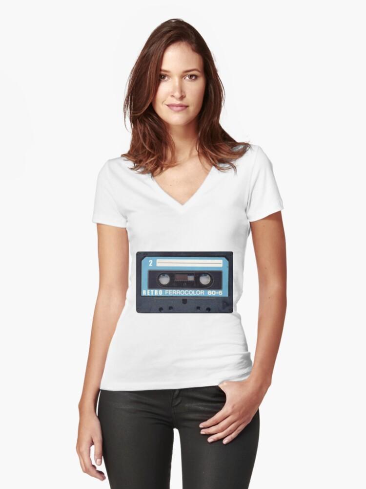 Cassette Tape 60 Women's Fitted V-Neck T-Shirt Front