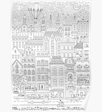 Black and White City Poster