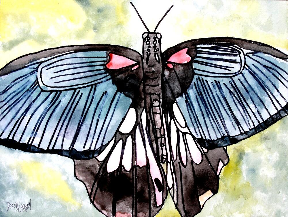 Butterfly macro watercolor painting by derekmccrea