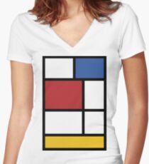 Camiseta entallada de cuello en V Mondrian # 3
