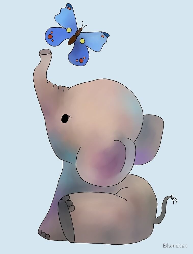 Elephant with butterfly by Blumchen