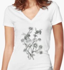 bees and chamomile on offwhite background Women's Fitted V-Neck T-Shirt