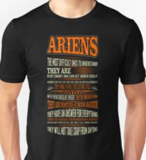 Ariens Difficult Ones To Understand Zodiac Tshirt Unisex T-Shirt