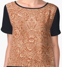 William Morris Indian, Coral Orange and Peach Women's Chiffon Top