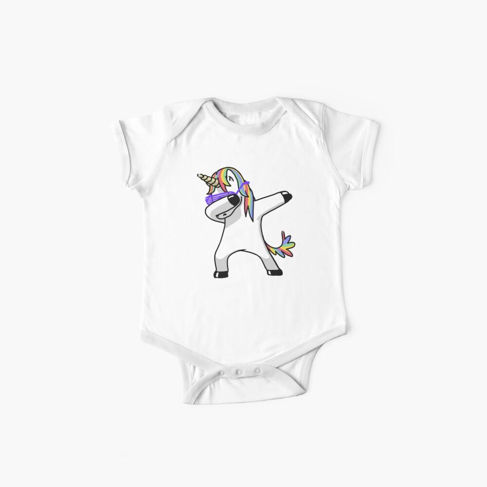 Dabbing Unicorn Shirt Dab Hip Hop Funny Magic Baby One-Piece