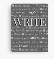 Multi language Text WRITE Canvas Print