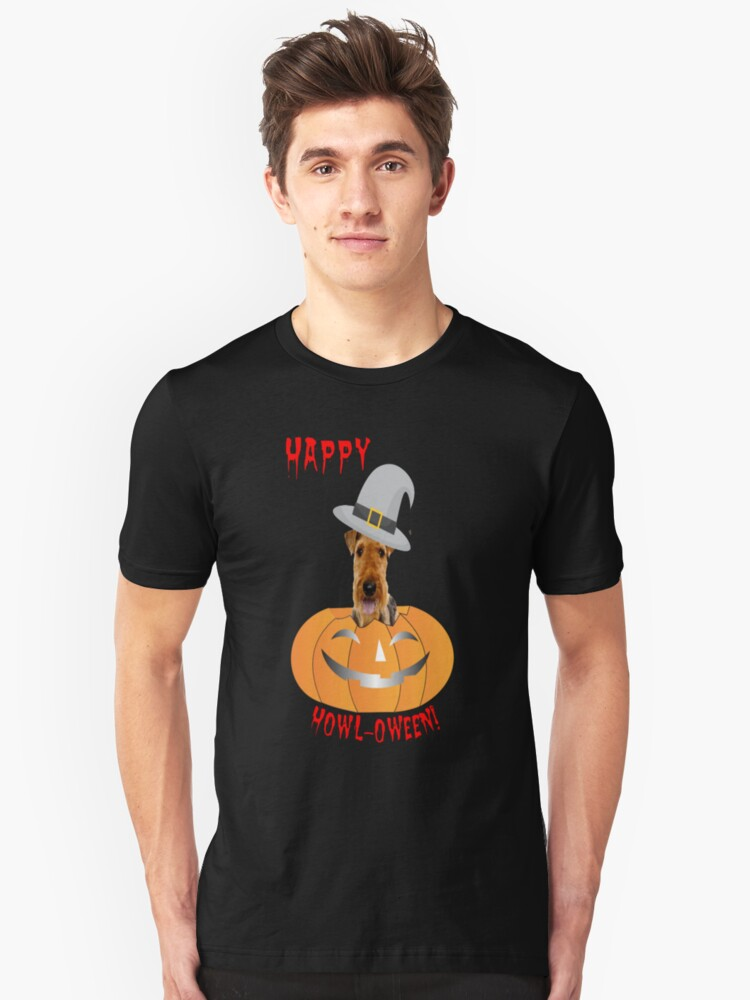 Airedale Terrier Happy Howl-oween Unisex T-Shirt Front