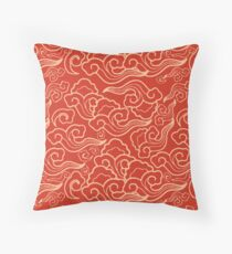 Vintage Japanese Clouds, Coral Orange  Throw Pillow