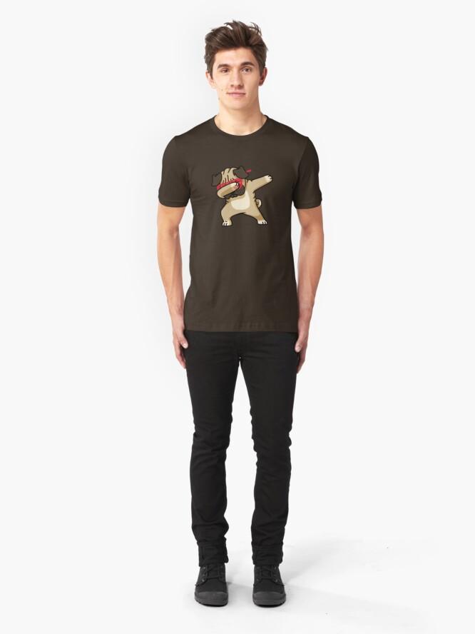 Alternate view of Dabbing Pug funny hip hop tshirt Slim Fit T-Shirt