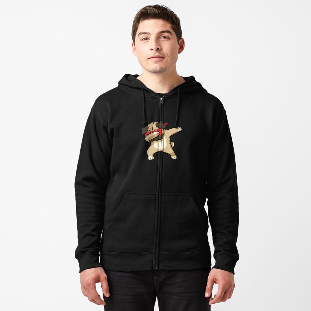Dabbing Pug funny hip hop tshirt Zipped Hoodie