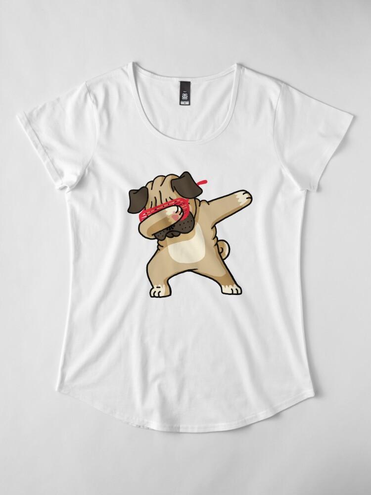 Alternate view of Dabbing Pug funny hip hop tshirt Premium Scoop T-Shirt