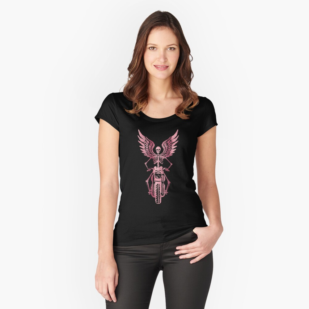 Born to Ride Skeleton Biker - Pink Metallic Women's Fitted Scoop T-Shirt Front