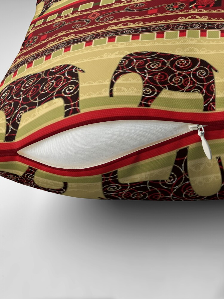 Alternate view of African print with elephants Throw Pillow