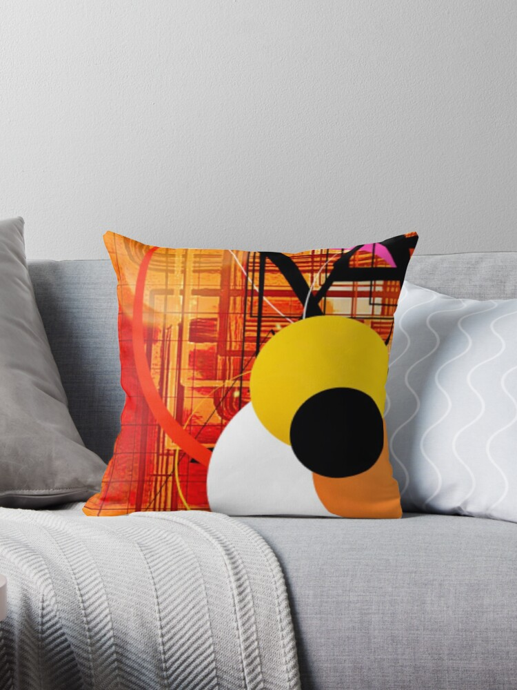 Yellow Sticker Orange and Black Abstract by Sheila Wenzel Ganny