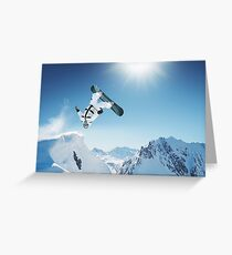 Cool Snowboarding Snowboarder Mountains Winter Snow Scene Greeting Card